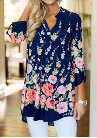 Floral Asymmetric Tab-Sleeve V-Neck Blouse