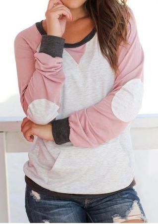 Color Block Elbow Patch Sweatshirt