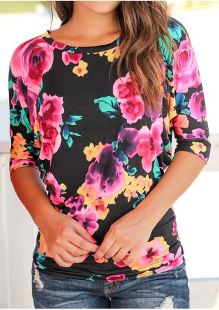 Floral Batwing Sleeve O-Neck Blouse