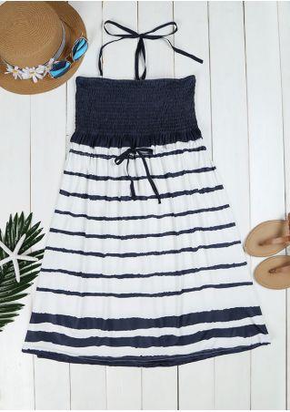 Striped Splicing Ruched Halter Mini Dress