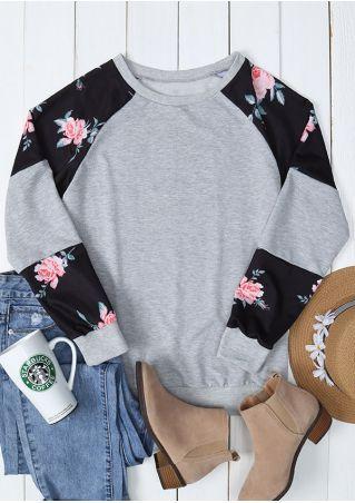 Floral Splicing Long Sleeve Sweatshirt