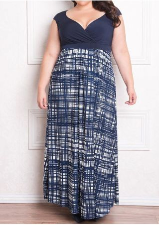 Plus Size Striped Splicing Wrap V-Neck Maxi Dress
