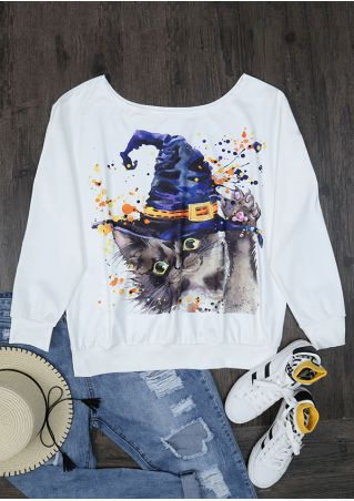 Halloween Cat Witch Hat Sweatshirt