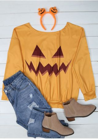 Halloween Pumpkin Face Printed T-Shirt