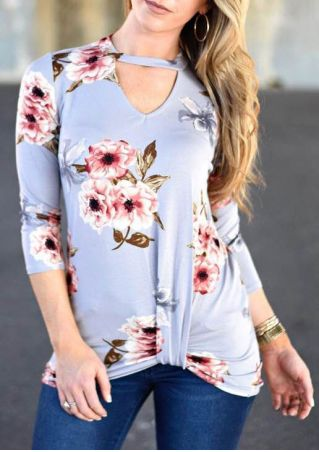 Floral Ruched Hollow Out Blouse
