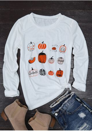 Halloween Pumpkin Printed O-Neck T-Shirt