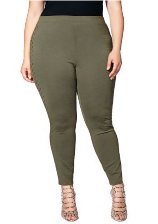 Plus Size Solid Studded Stretchy Skinny Leggings