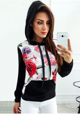 Floral Splicing Drawstring Long Sleeve Hoodie