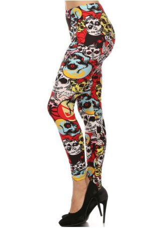 Halloween Plus Size Multicolor Skull Elastic Waist Leggings