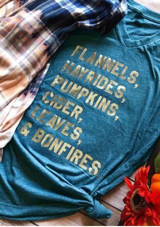 Halloween Flannels Hayrides Pumpkins V-Neck T-Shirt