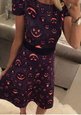 Halloween Pumpkin Face Casual Dress