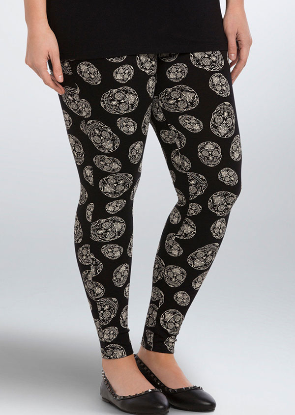 Image of Halloween Plus Size Skull Elastic Waist Leggings