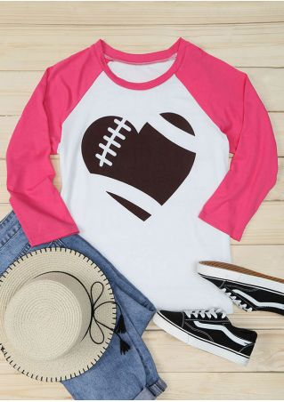 Heart Football Printed Baseball T-Shirt
