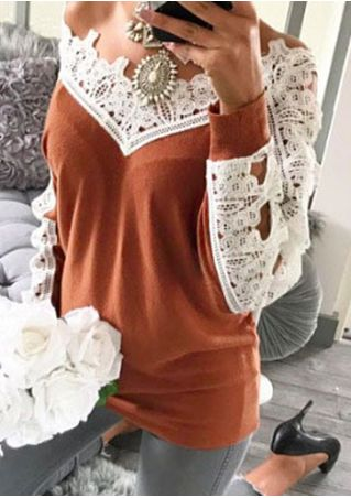 Lace Splicing Long Sleeve Blouse without Necklace