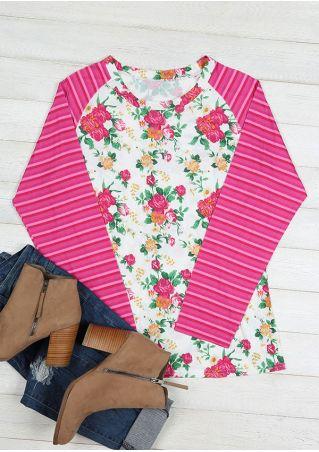 Floral Splicing O-Neck Baseball T-Shirt