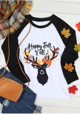 Happy Fall Y'all O-Neck Baseball T-Shirt