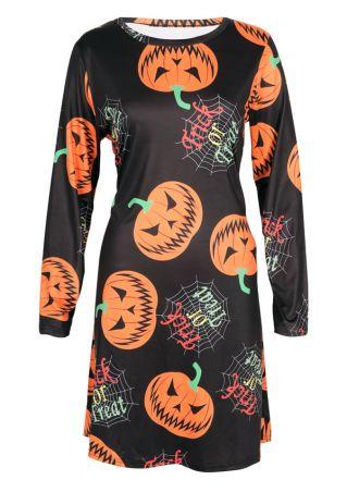 Halloween Pumpkin Trick Or Treat Casual Dress