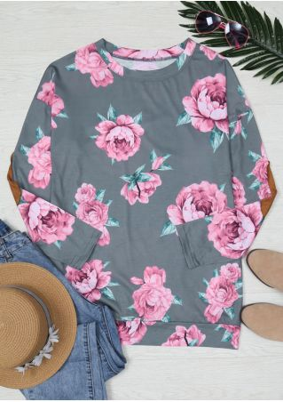 Floral Elbow Patch Pocket Blouse