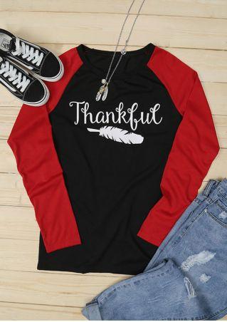 Thankful Feather O-Neck Baseball T-Shirt