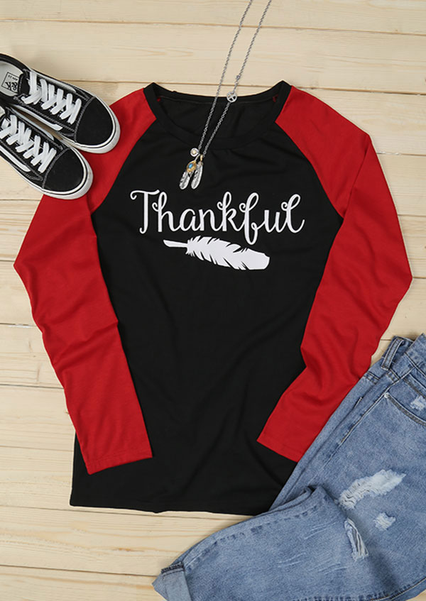 4ebee242e Thankful Feather O-Neck Baseball T-Shirt - Fairyseason
