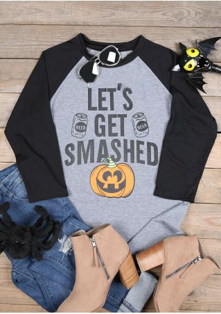 Halloween Let's Get Smashed Pumpkin Face T-Shirt