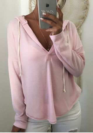Solid Drawstring Asymmetric Hoodie without Necklace