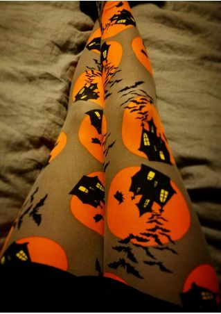 Halloween Haunted House Bat Elastic Waist Leggings