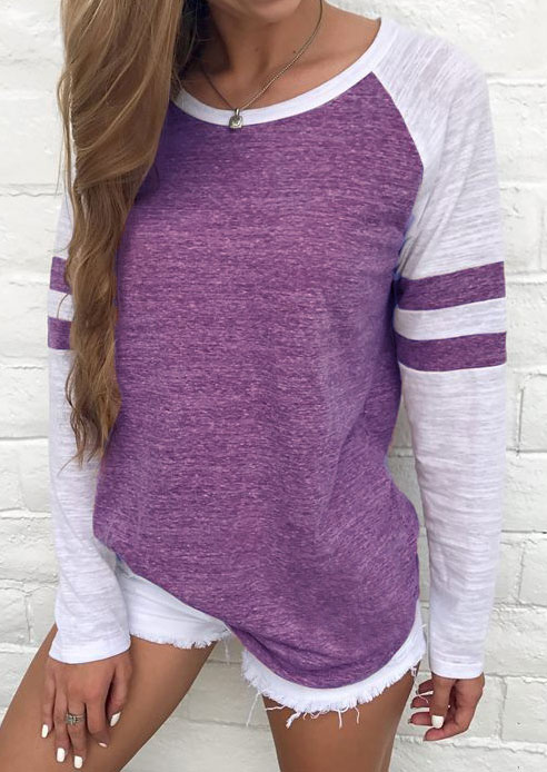 Tees T-shirts Striped Detail Baseball T-Shirt without Necklace in Purple,Camel. Size: S,M,L,XL фото