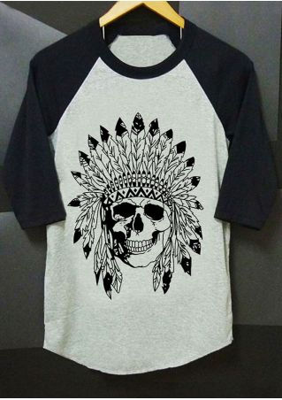 Plus Size Native Skull O-Neck Baseball T-Shirt