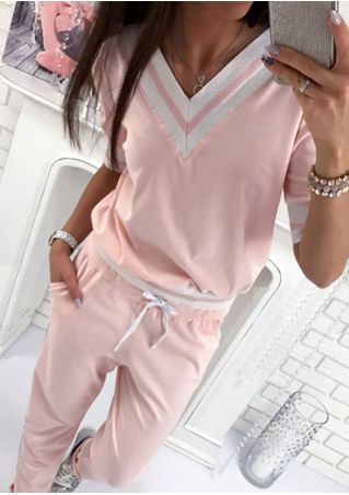 Color Block Blouse and Pants Set without Necklace