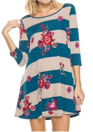 Floral Striped O-Neck Casual Dress