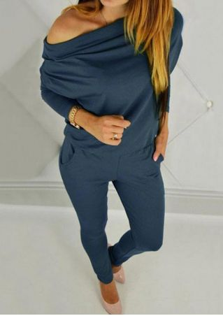 Solid Pocket Long Sleeve Jumpsuit