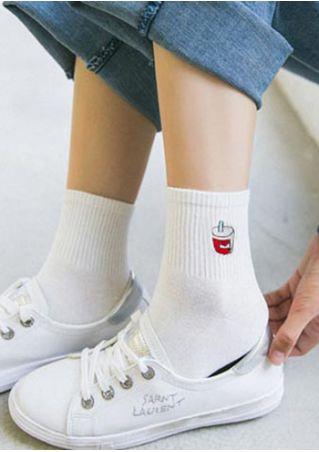 Cola Embroidery Fashion Socks