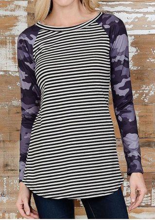 Striped Camouflage Printed Baseball T-Shirt