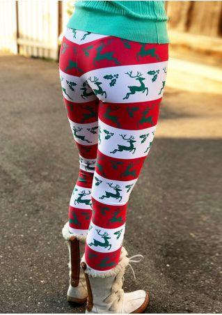 Color Block Reindeer Elastic Waist Leggings