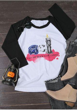 Halloween I Lit The Black Flame Candle Baseball T-Shirt