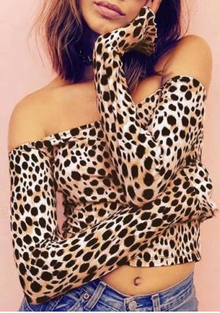 Leopard Printed Off Shoulder Crop Top