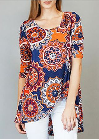 Printed Asymmetric O-Neck Knot Blouse
