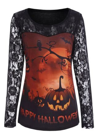 Happy Halloween Pumpkin Lace Splicing T-Shirt