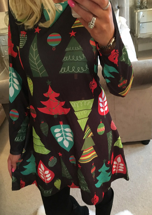 Mini Dresses Christmas Tree Printed O-Neck Mini Dress in Black. Size: M фото