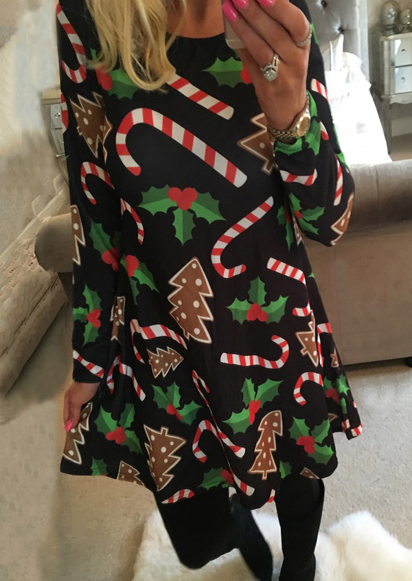 Christmas Tree Printed Dress Fairyseason