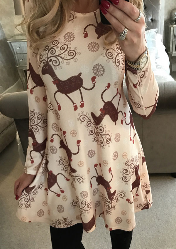 Christmas Reindeer Snowflake Mini Dress