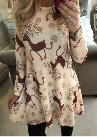 Christmas Reindeer Snowflake Mini Dress