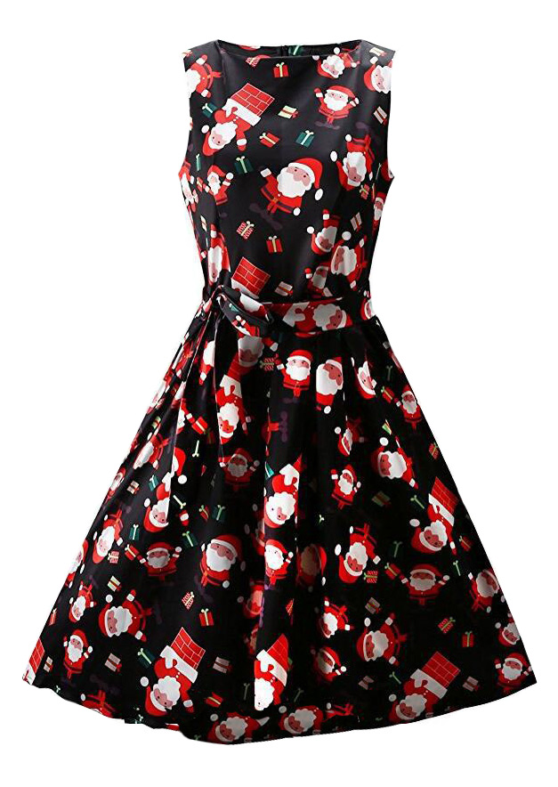 Christmas Chimney Santa Claus Casual Dress With Belt