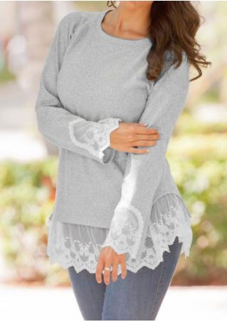Lace Splicing Ruffled O-Neck Blouse