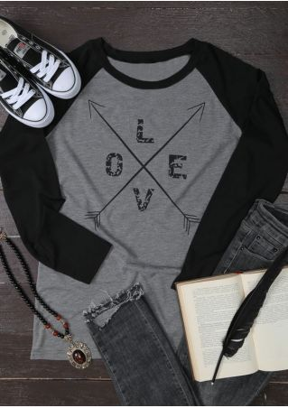 Love Arrow O-Neck Baseball T-Shirt
