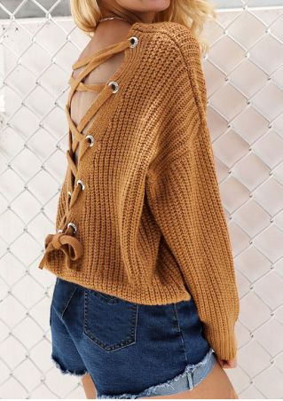 Solid Back Lace Up Sweater without Necklace Solid
