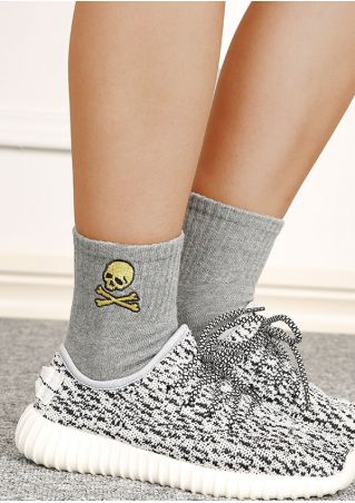 Skull Embroidery Warm Socks