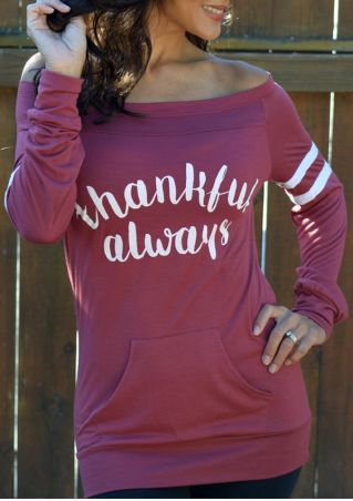 Thankful Always Striped Splicing Pocket Blouse