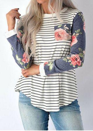 Striped Floral Splicing Pocket T-Shirt